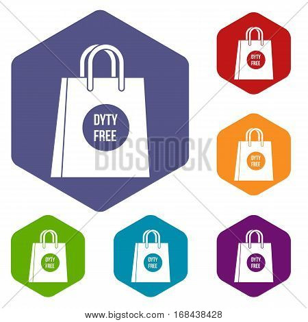 Duty free shopping bag icons set rhombus in different colors isolated on white background
