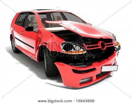 Isolated Crashed Car