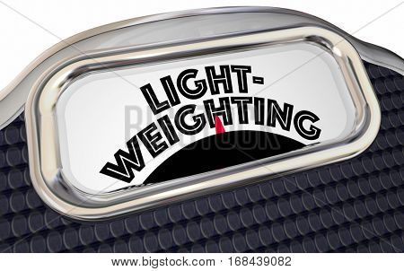 Lightweighting Reduce Weight Lighter Scale 3d Illustration