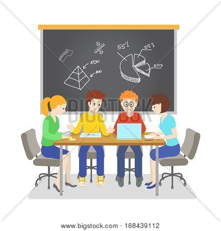 Team working together on IT startup. Brainstormin and Planning. Task board with business idea. vector illustration.