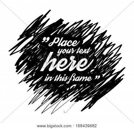 Drawn quotes and a frame to highlight the frame, quotes and other text in the article, or as a separate element. Vector illustration