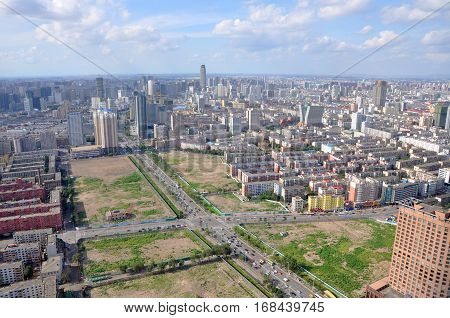 Shenyang City Skyline aerial view, Liaoning Province, China. Shenyang is the largest city in Northeast China (Manchuria).