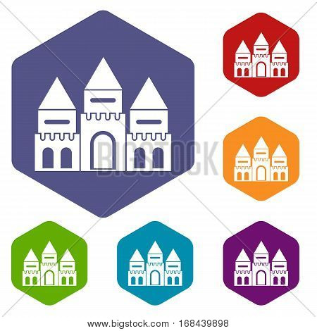 Children house castle icons set rhombus in different colors isolated on white background