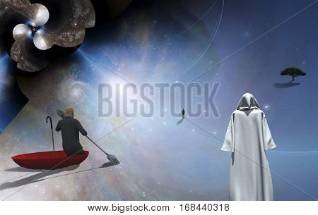 Figure in cloak. Man floats in red umbrella. Figure of man in a distance. Multi layered spaces represents endless dimension. 3D Render