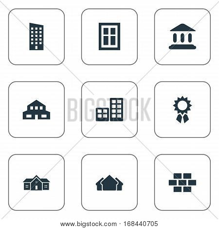 Set Of 9 Simple Structure Icons. Can Be Found Such Elements As Shelter, Stone, Reward And Other.