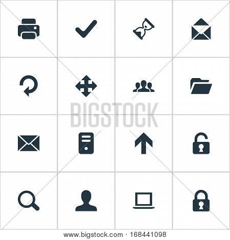 Set Of 16 Simple Practice Icons. Can Be Found Such Elements As Open Padlock, Upward Direction, Arrows And Other.