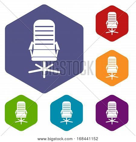 Office chair icons set rhombus in different colors isolated on white background