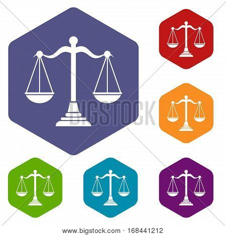 Balance scale icons set rhombus in different colors isolated on white background