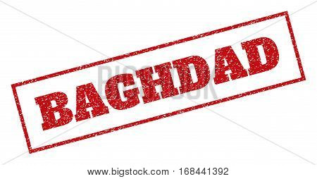 Red rubber seal stamp with Baghdad text. Vector message inside rectangular banner. Grunge design and unclean texture for watermark labels. Inclined emblem.