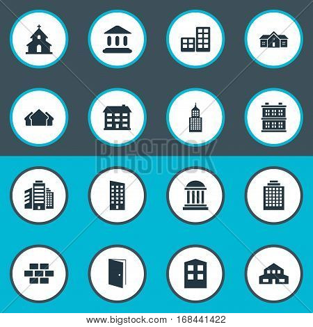 Set Of 16 Simple Structure Icons. Can Be Found Such Elements As Booth, Gate, Block And Other.