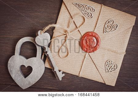Hearts on a wooden background for writing
