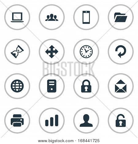 Set Of 16 Simple Apps Icons. Can Be Found Such Elements As User, Arrows, Computer Case And Other.