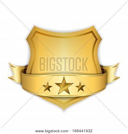 Gold Shield Emblem Ribbon Icon