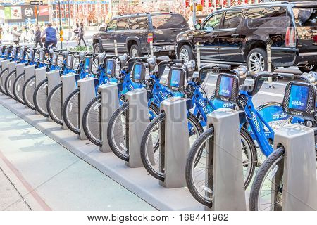 New York USA- May 20 2014. Citi Bike The Bicycle Rental of New York City for sharing Program in Bike Racks New York USA.