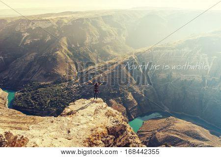 Adventure is worthwhile/Inspirational Motivational Travel Journey Quote Design. Amazing Aerial view Canyon.Landscape view,mountains