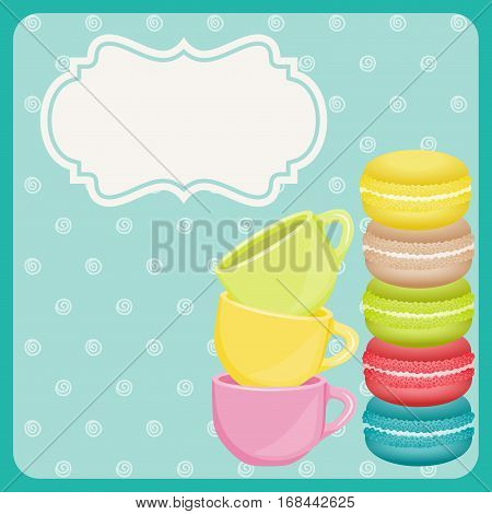 Scalable vectorial image representing a colorful macaron cookies and teacup on blue background.