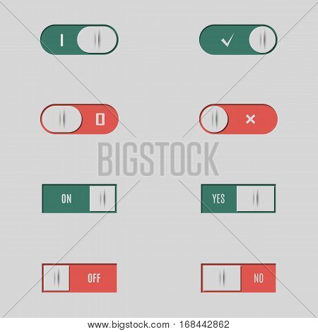 Set of different buttons and switches web interface design elements isolated on white background vector illustration.