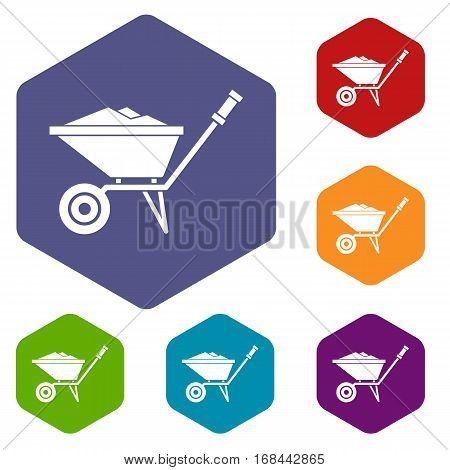 Wheelbarrow icons set rhombus in different colors isolated on white background