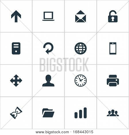 Set Of 16 Simple Apps Icons. Can Be Found Such Elements As Upward Direction, Notebook, Dossier And Other.