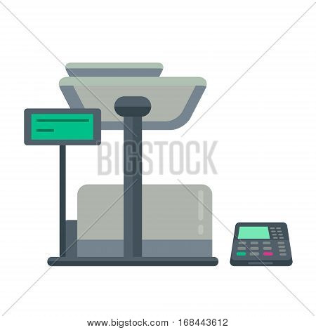 Counter Stand In Shop Or Supermarket. Retail Checkout In Store. Cashier Desk Or Cash Department. Vec