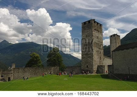 Castelgrande Castle In Bellinzona, Ticino, Switzerland