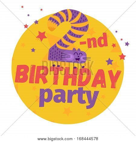 Second Or 2-nd Birthday Party Greeting Card Or Postcard. Cartoon Animal Number In Flat Style Design.