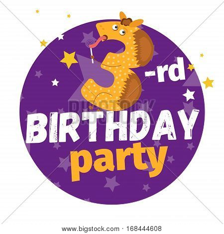 Third Or 3-rd Birthday Party Greeting Card Or Postcard. Cartoon Animal Number In Flat Style Design.