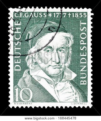 GERMANY - CIRCA 1955 : Cancelled postage stamp printed by Germany, that shows Gauss.
