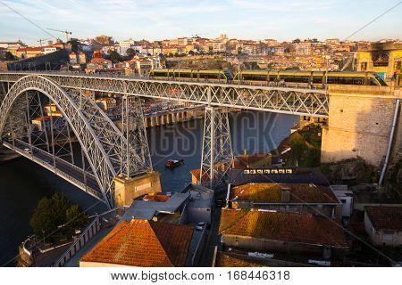 Dom Luis I iron bridge over Douro river, Porto, Portugal.