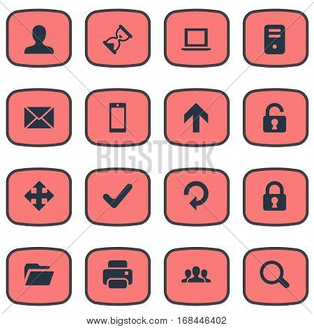 Set Of 16 Simple Apps Icons. Can Be Found Such Elements As Refresh, Check, Dossier And Other.