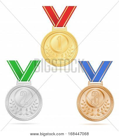 Medal Winner Sport Gold Silver Bronze Stock Vector Illustration