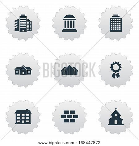 Set Of 9 Simple Construction Icons. Can Be Found Such Elements As Residence, Superstructure, School And Other.