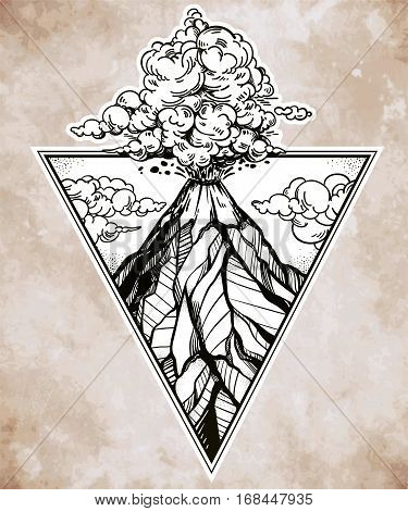 Hand drawn volcano in triangle frame. Nature disaster eruption and smoke in sky with clouds. Isolated vector illustration.