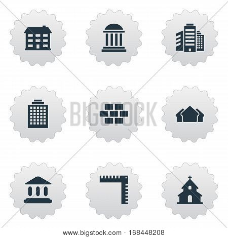 Set Of 9 Simple Construction Icons. Can Be Found Such Elements As Superstructure, Length, Popish And Other.