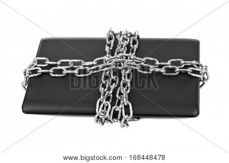 Notebook and chains isolated on white background