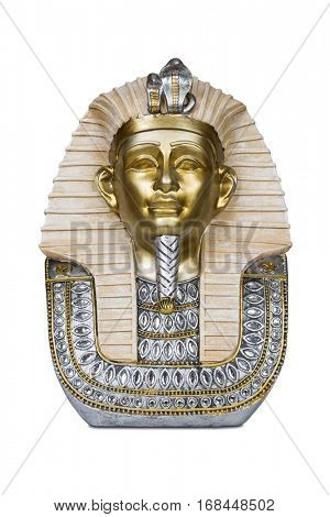 The mask of Tutankhamen isolated on white with clipping path.