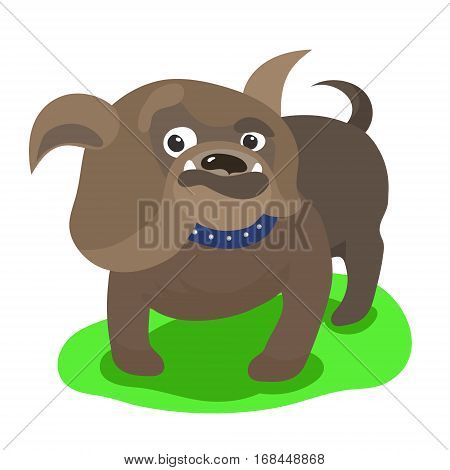 Cute cartoon english bulldog with funny face. Vector illustation isolated on white.