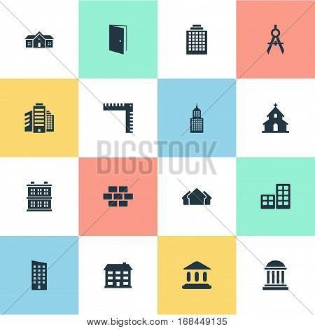 Set Of 16 Simple Structure Icons. Can Be Found Such Elements As Length, Academy, Popish And Other.