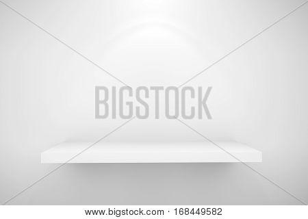 Empty white shelf for exhibit on white wall wite lighting effect, 3D render