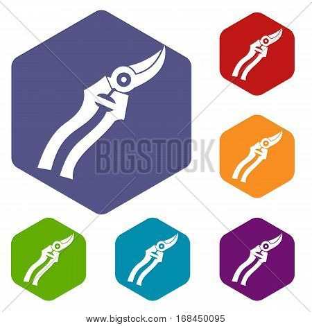 Garden shears icons set rhombus in different colors isolated on white background
