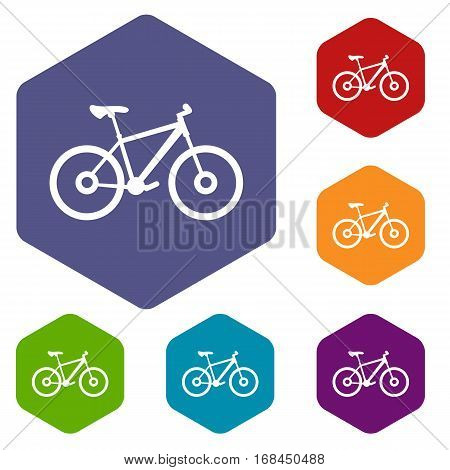 Bike icons set rhombus in different colors isolated on white background