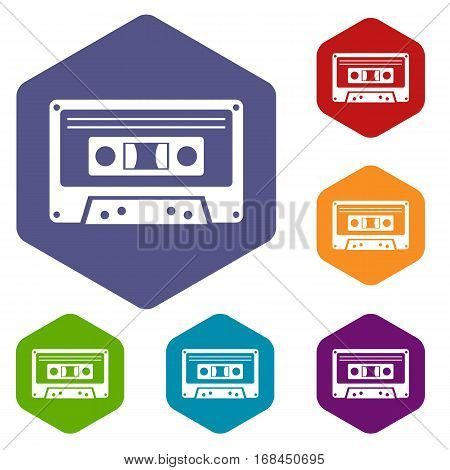 Cassette tape icons set rhombus in different colors isolated on white background