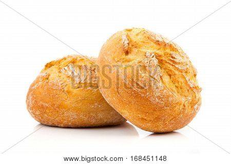 Two fresh buns on the white background
