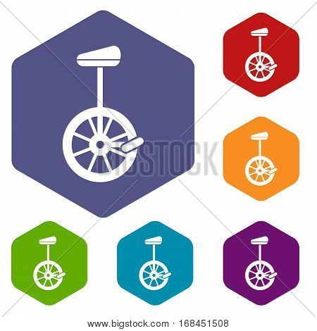 Unicycle icons set rhombus in different colors isolated on white background