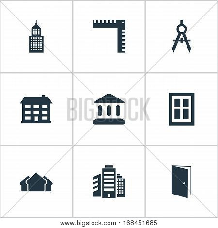 Set Of 9 Simple Structure Icons. Can Be Found Such Elements As Superstructure, Length, Booth And Other.
