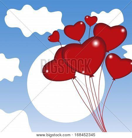 Group of air balloon in the sky. Heart on Valentine's day. Vector illustration.