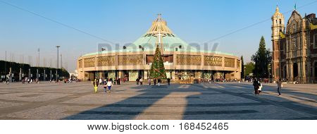 MEXICO CITY,MEXICO - DECEMBER 26,2016 : High resolution panoramic view of the Basilica of Guadalupe in Mexico City