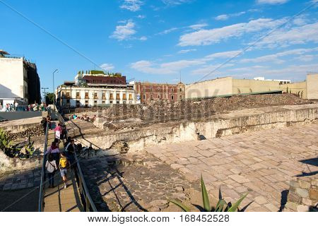 MEXICO CITY,MEXICO - DECEMBER 28,2016 : The Templo Mayor in Mexico City, a major aztec religious site in ancient Tenochtitlan