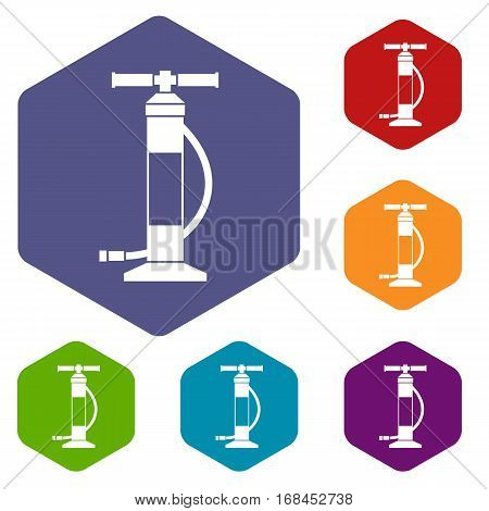 Hand air pump icons set rhombus in different colors isolated on white background