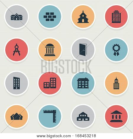 Set Of 16 Simple Architecture Icons. Can Be Found Such Elements As Residence, Popish, School And Other.